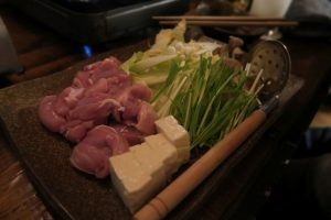 mizutaki hotpot (chicken + vegetables) with ponzu dipping sauce