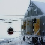 snow crusted gondola station on east mountain
