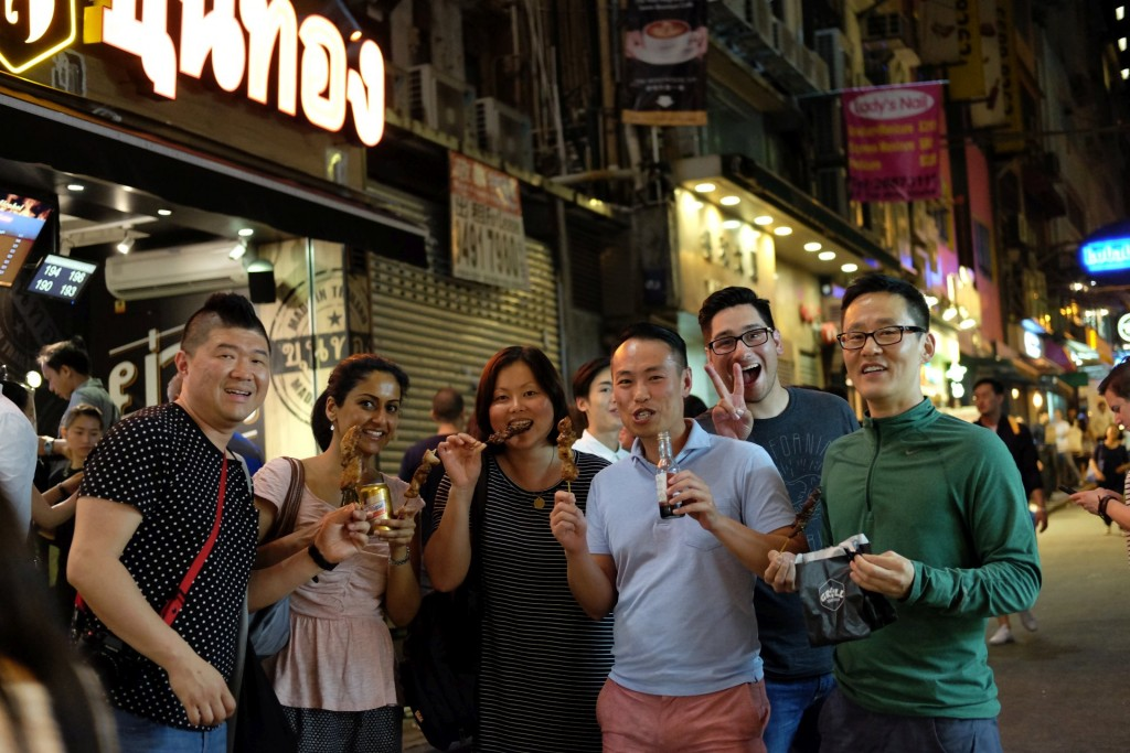 lan kwai fong. snacking in between our two dinners.