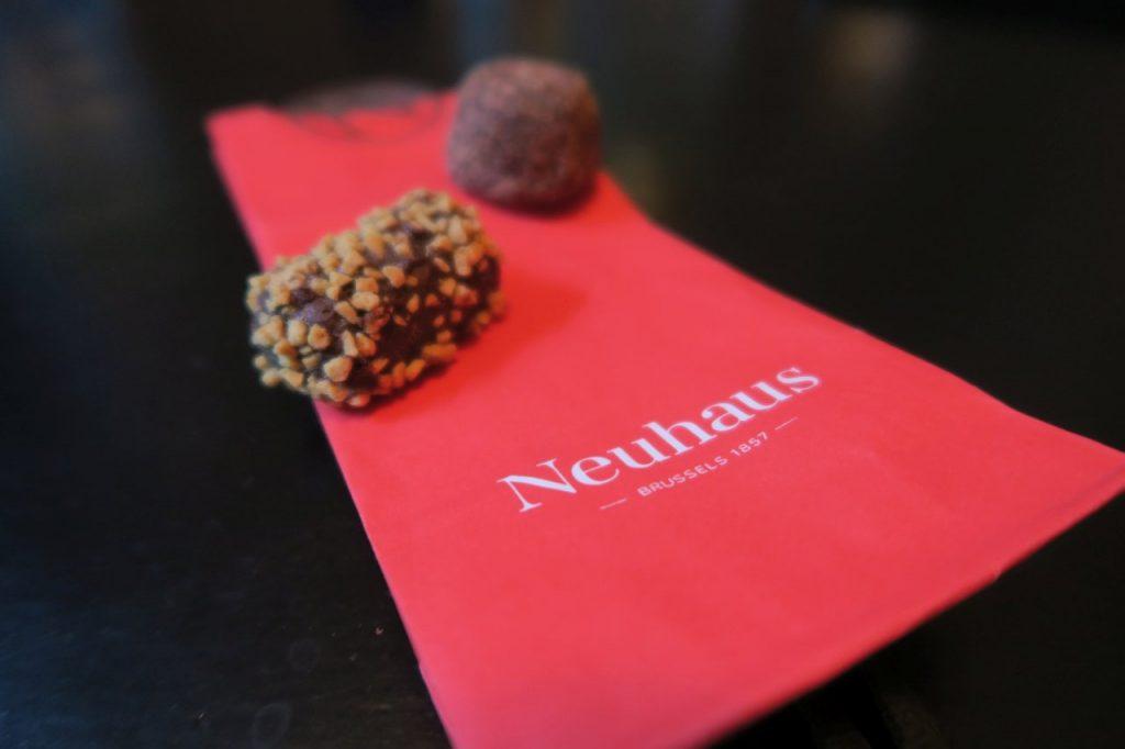 our tasty bites from neuhaus; tiramisu and bitter chocolate truffles