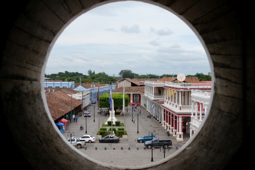 a view from the bell tower's spiral stairway